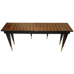 Long French Art Deco Exotic Macassar Console Table circa 1940s