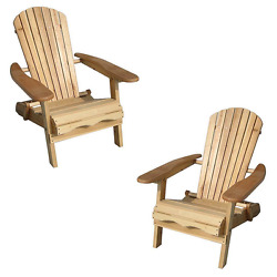 2 Adirondack Plain Wood Chairs Folding Beach Patio Deck Garden Furniture Cheap