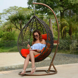 Luxury Single Rattan Outdoor Wicker Hanging Basket Porch Swing Chair Free Cover