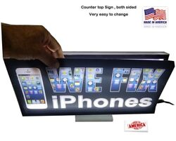 Counter top sign. Tablebench-top box illuminated signs-double sided 8x16''