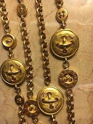 ICONIC KARL LAGERFELD GOLD BUTTON SAUTOIR NECKLACE 1990'S