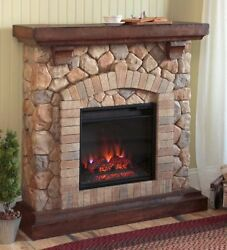Faux Stone Electric Fireplace Infrared Quartz Heater Wood Mantel 40