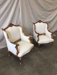 Stunning Pair of Louis XV Style Parcel Gilt Arm Chairs Bergeres