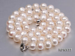 Charming 8-9mm Real Cultured White Round Freshwater Pearl Necklace 18Inches