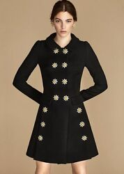 NWT Dolce&Gabbana Daisy Crystal Button Wool Crepe Coat IT42 US6