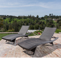 Outdoor Chaise Lounge Chair Wicker Set of 2 Patio Pool Brown Sunbathing Deck