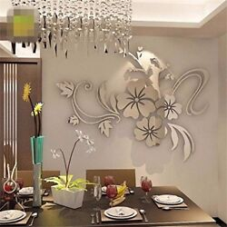 3D Mirror Floral Art Background Wall Decoration $7.75