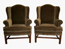Quality Pair of Chippendale Wing Back Fireside Chairs in Velvet