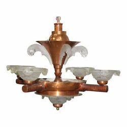 French Art Deco Chandelier by Ezan Glass and Copper 1930 AS IS