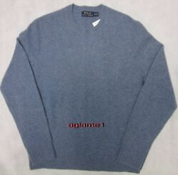 NWT Polo Ralph Lauren cashmere wool sweater Italian Yarn Bright blue  M