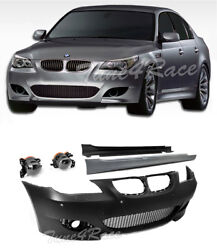 For 08-10 BMW E60 5-Series M5 Style Bumper Cover Clear Fog Light Side Skirt PDC