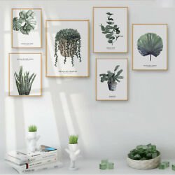 Green Plant Leaf Canvas Nordic Poster Wall Art Print Picture Modern Home Decor $7.19