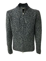 PANICALE mens cardigan with zip blueice 100% cashmere MADE IN ITALY