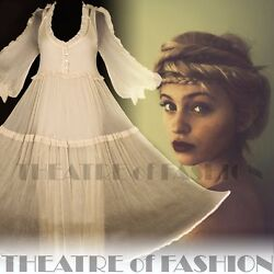 VINTAGE DRESS WEDDING SILK 8 10 12 14 16 GODDESS BOHO VICTORIAN HIPPY-LUXE VAMP
