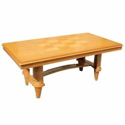 Long French Art Deco Sycamore Dining Table style Jules Leleu  AS IS