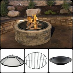 Large Outdoor Fire Pit Wood Burning Camping Durable Cast Stone Round Bowl Garden