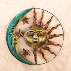 Sun and Moon Metal Wall Art Celestial Outdoor Home Decor Shed House Garage New