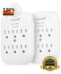 Fosmon 2x 6 Outlet Surge Protector Multi Plug Wall Adapter Tap 1200J ETL Listed $15.99