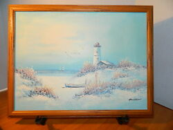 Oil On Canvas Painting Henderson Nautical Lighthouse Seascape Beach Sail Boats