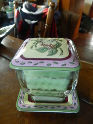 Partylite 3 Pc Green Candle W Lid amp; Plate Floral Sweet Pea Flower Design Square $28.99