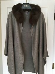 NEW Loro Piana Fox Trimmed Baby Cashmere Cape Poncho Coat Jacket