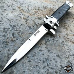 9quot; Classic Italian Milano Spring Assist Open Folding Stiletto Pocket Knife BLACK $13.95