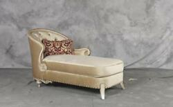 Luxury Silk Chenille Solid Wood Formal Chaise Lounge Sp Order Benetti's Rosabela
