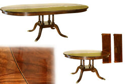 American Made Inlaid Round Mahogany Dining Table with Leaves