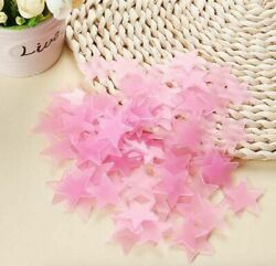 Pink 100 3D Home Wall Ceiling Glow In The Dark Stars Child Room Plastic Stickers $4.55