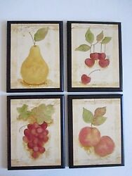 Fruit wall decor pictures cherries pears grapes peaches country kitchen signs $29.94