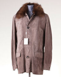 NWT $11995 BRIONI Leather Coat with Fisher Fur Collar 50M Cashmere-Silk Lining