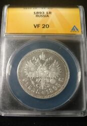 Rare Date Russia Empire AR 1 Rouble 1893 Graded by ANACS as a VF 20 Y 46 $249.95