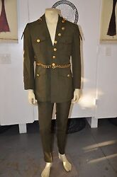 Vintage Custom Made Green Suit with Army Buttons & Gold Chains Jacket 40 Pant 34
