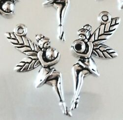 12 Fairy Charms Antique Silver Pewter fairies Angel Charm 25mm $3.50