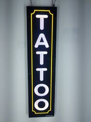 TATTOO Sign with yellow borderLed light box sign White color 12x48x2 inc