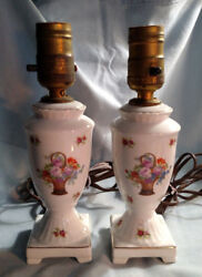 Pair of Victoria Czechoslovakia Bedroom Lamps Floral Decoration $19.99