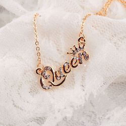 Hot Jewelry Queen Letters With Crown Rhinestone Short Clavicle Chain Necklace