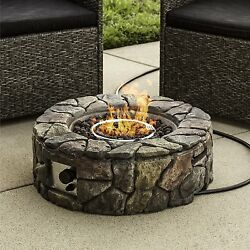 Gas Stone Fire Pit Burning Round Design Outdoor Patio Firepit Garden Decoration