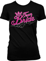 Script Pink Team Bride Wedding Bachelorette Party Juniors T shirt $22.95