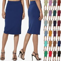 TheMogan S 3X Thick Ponte Stretch Knit High Waist Knee Length Pencil Midi Skirt $14.99