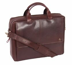 Real Leather Briefcase for Mens Messenger Laptop Satchel Cross Body Bag Brown