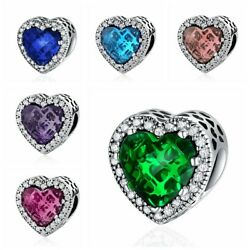 925 Sterling Mixed-Color Radiant Love Hearts Charm Beads fit Original Bracelet