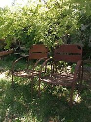 Art Deco Antique Metal Patio Garden Chairs Set Old Furniture Early 20th Century