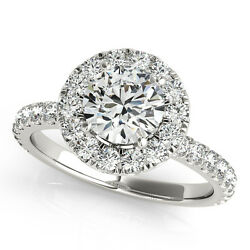 2.50 CT ROUND MOISSANITE FOREVER ONE & DIAMOND HALO PAVE ENGAGEMENT RING