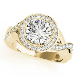 2.13 CT ROUND MOISSANITE FOREVER ONE & DIAMOND HALO SOLITAIRE RING