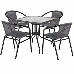 Patio Dining Set Furniture Table Outdoor Bistro Metal Rattan Square Garden Glass