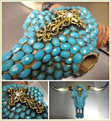 Western Cow Skull Turquoise Jewel Rustic Hanging Large Wall Sculpture Decoration $54.95