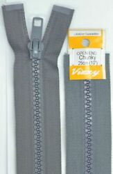Vizzy Chunky Open End Zip 25cm Colour 62 GREY A Quality Brand Name Zipper