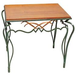 French Art Deco Solid Mahogany Wrought Iron Accent Table Circa 1940s AS IS