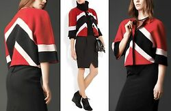 $1595 RUNWAY Burberry Prorsum XL Chevron Stripe Wool Cashmere Jacket Coat Women